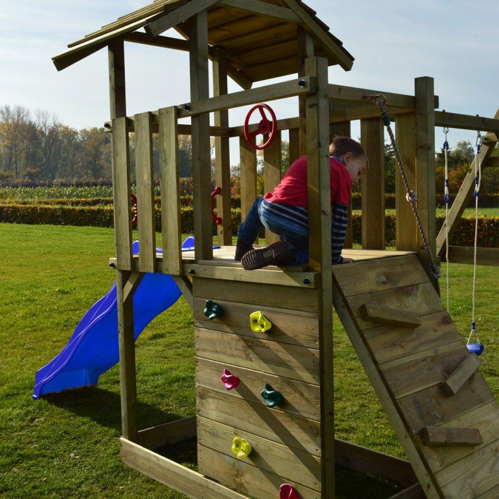 Festnight Spielturm Kinder Kletterturm Spielplatz aus Holz mit ...