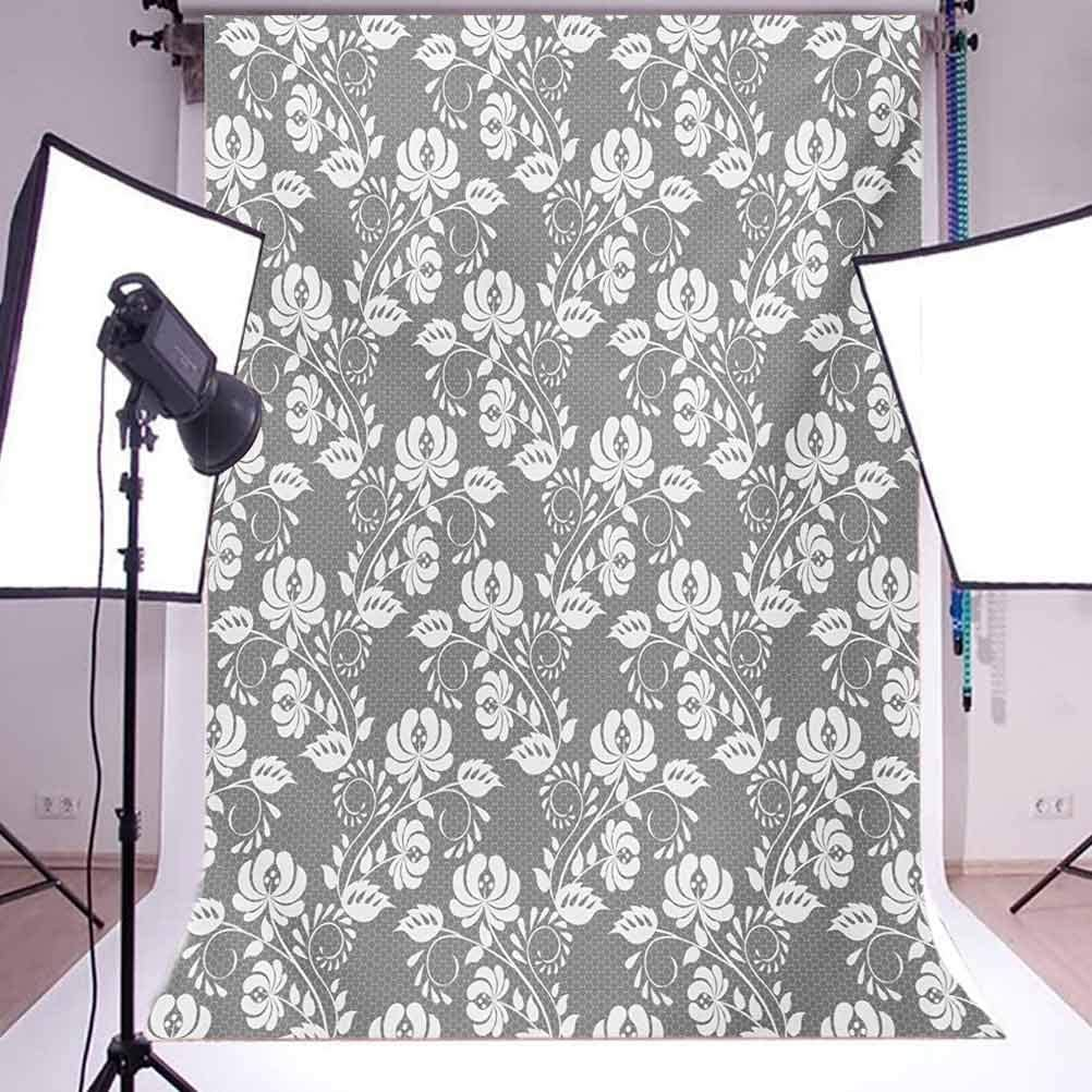 Floral 10x12 FT Backdrop Photographers,Flower Silhouettes with Lace Patterned Background Leaves Swirls Dots Abstract Image Background for Party Home Decor Outdoorsy Theme Vinyl Shoot Props Grey White