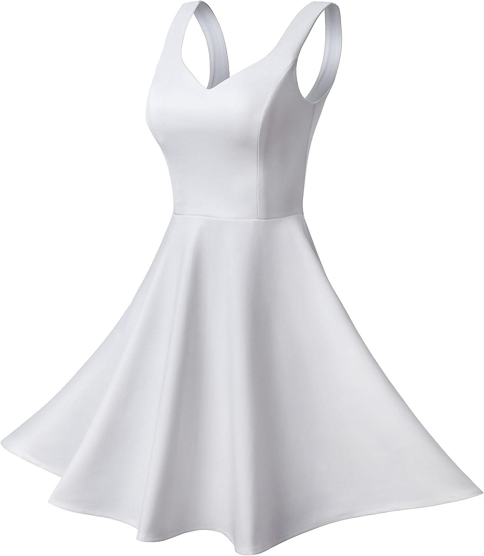 Missufe Womens Sleeveless Sweetheart Flared Mini Dress