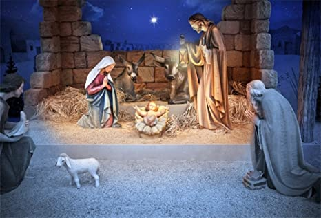 Christmas Stable Background.Lfeey 9x6ft Christmas Manger Scene Backdrop Religious Bethlehem Star Night Holy Family Nativity Scene Barn Stable Lamb Birth Of Jesus Photography