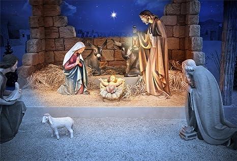 Amazoncom Lfeey 10x8ft Christmas Manger Scene Backdrop Religious