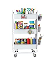 DESIGNA 3-Tier Metal Rolling Storage Cart with Utility Handle and Extra Storage Accessories Ideal for Bedroom Kitchen Bathroom Garage Office Arts and Crafts or Nursery