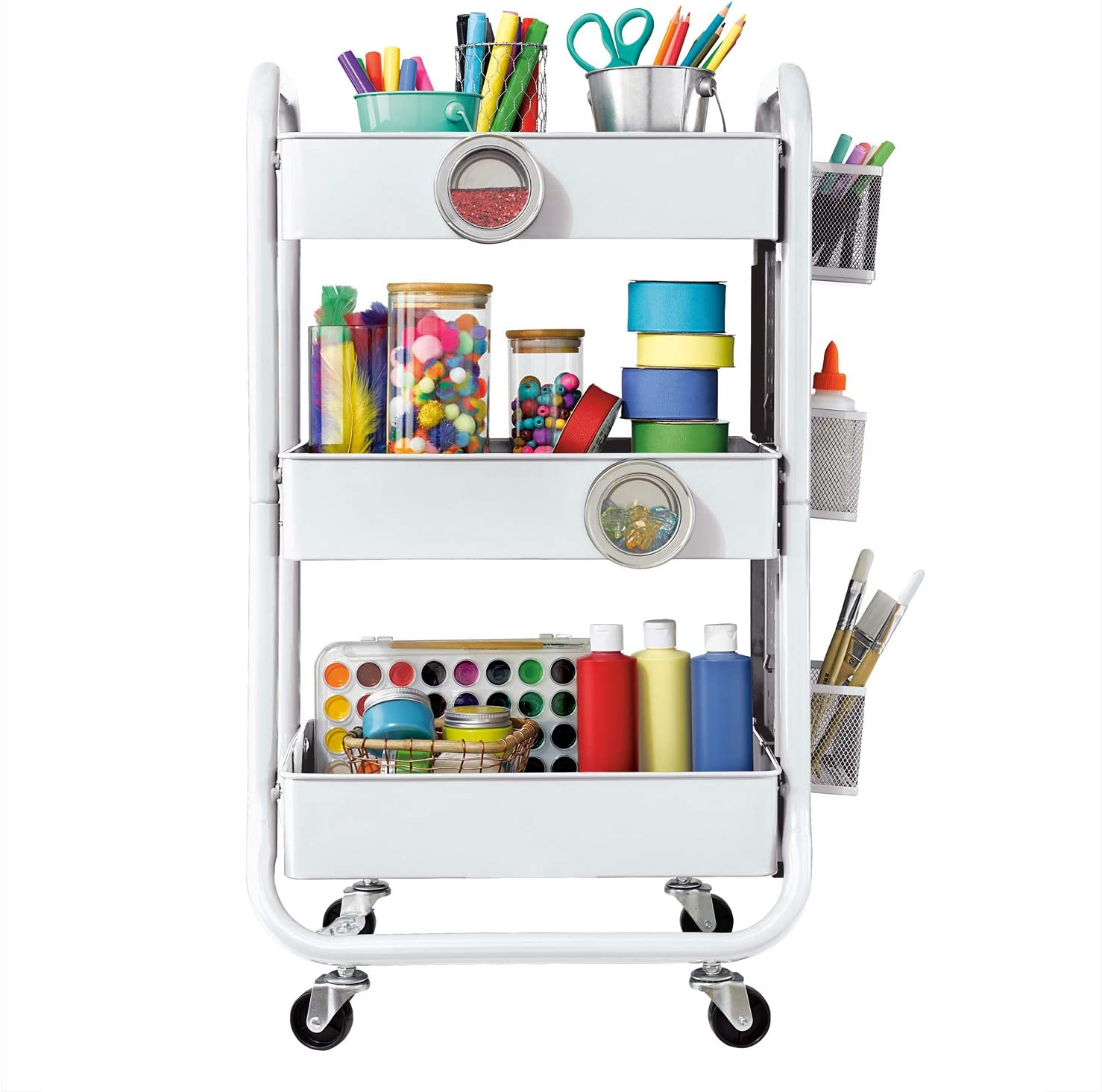 DESIGNA 3-Tier Metal Rolling Utility Cart with Handle & Removable Pegboard, Extra Office Storage Accessories Craft Art Carts, White: Home & Kitchen
