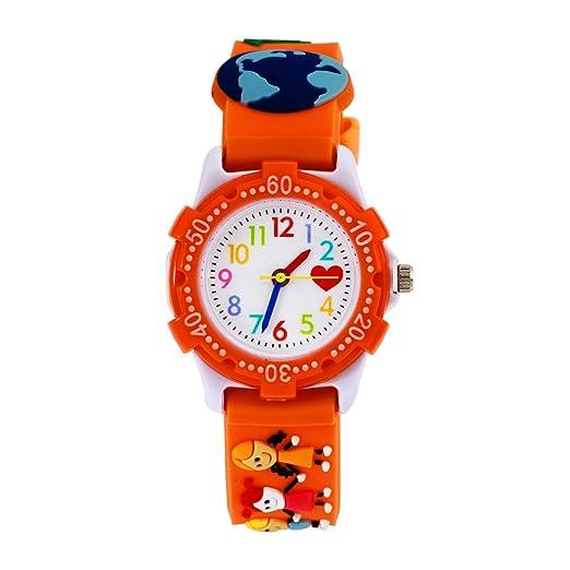 Niños analógicas relojes, las niñas Time Teacher – Reloj para niños decir la hora impermeable