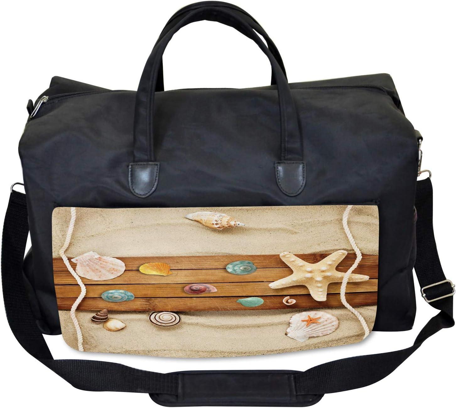 Ambesonne Beach Gym Bag Large Weekender Carry-on Rustic Board Seashells