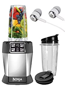 Ninja BL480 Personal Blender with 1000-Watt Auto-iQ Base to Extract Nutrients for Smoothies, Juices and Shakes and 18, and 24-Ounce Cups/FREE ALPHASONIK EARBUDS (Renewed)