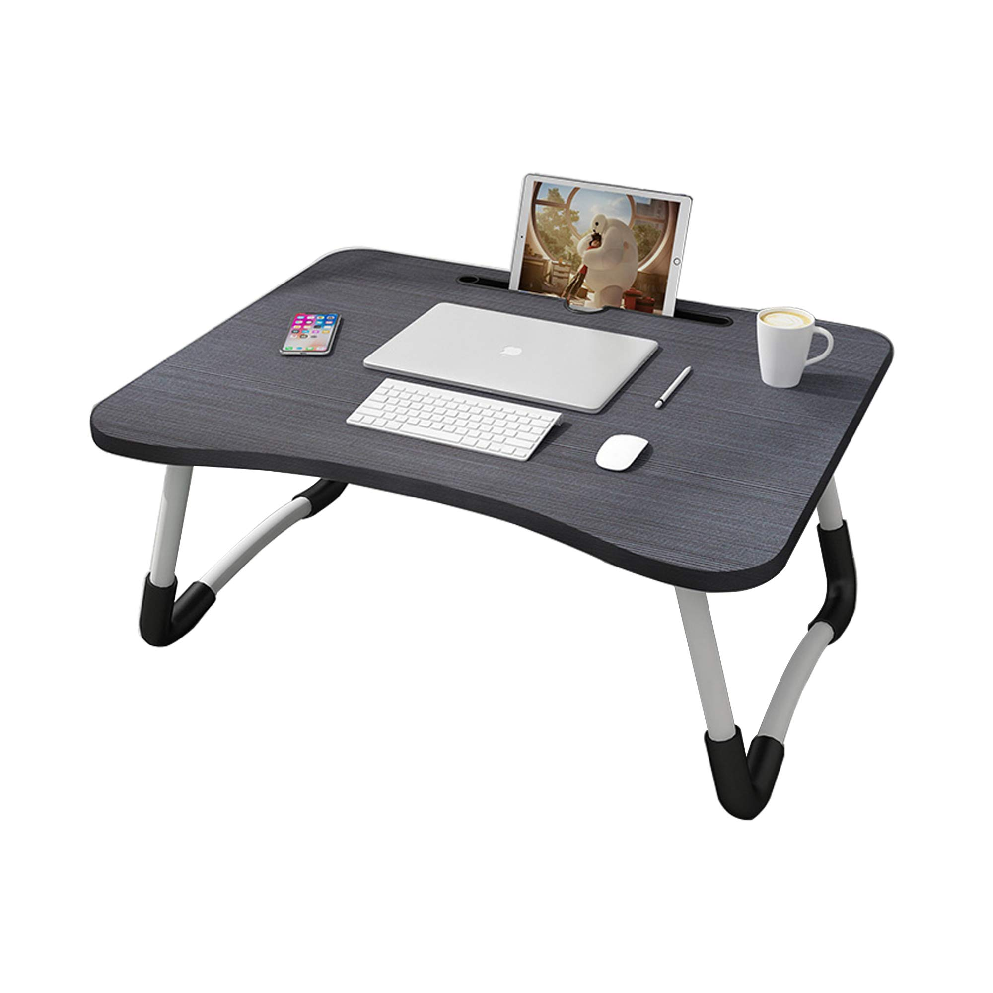 MemeHo® Smart Multi-Purpose Laptop Table with Dock Stand/Study Table/Bed Table/Foldable and Portable/Ergonomic & Rounded Edges/Non-Slip Legs (Black) product image
