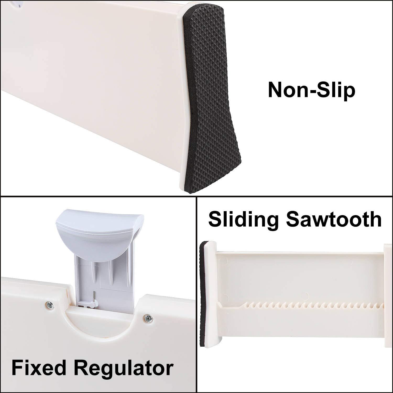 dormitorio oficina y escritorio conjunto de organizadores de cajones ajustables para cocina 3 separadores de cajones extensibles ~ Paquete de 3 color blanco ba/ño