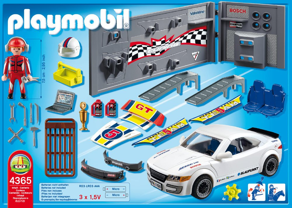voiture de course blanche playmobil. Black Bedroom Furniture Sets. Home Design Ideas