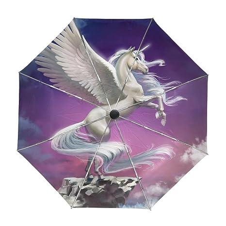 ALAZA Volar con las nubes del unicornio viaje paraguas de apertura automática Cerca de Protección UV