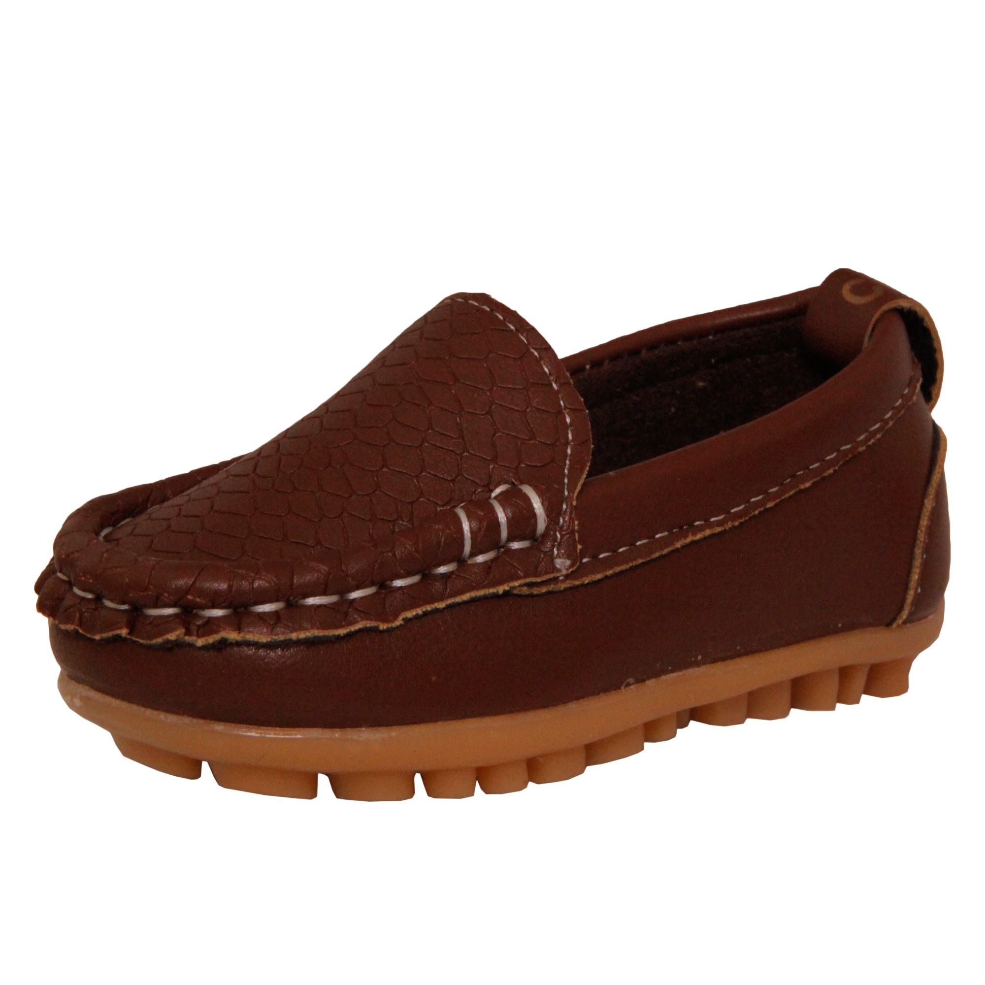 Kids Conda Boys & Girls Brown Loafers Water Resistent Slip On Split Leather Boys & Girls Oxfords - Deck Shoes / Sneakers Size 3 M US Little Kid