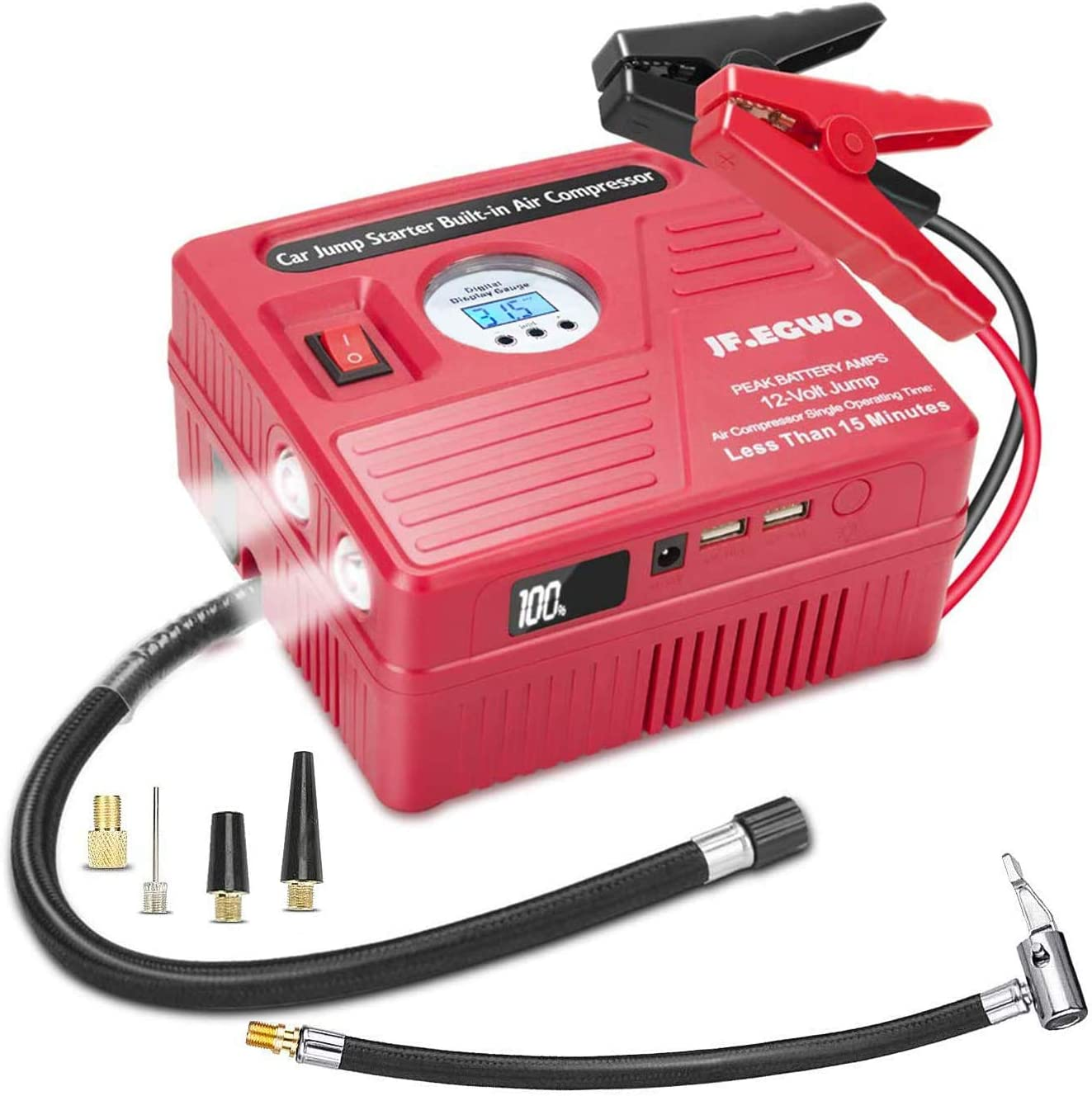 3000Amp Car Jump Starter with Air Compressor, 150PSI Tire Inflator with Digital Screen Pressure Gauge, 24000mAh 12V Auto Battery Booster (9.0L Gas/ 8.5LDiesel Engine), 2 USB Port 2 Light
