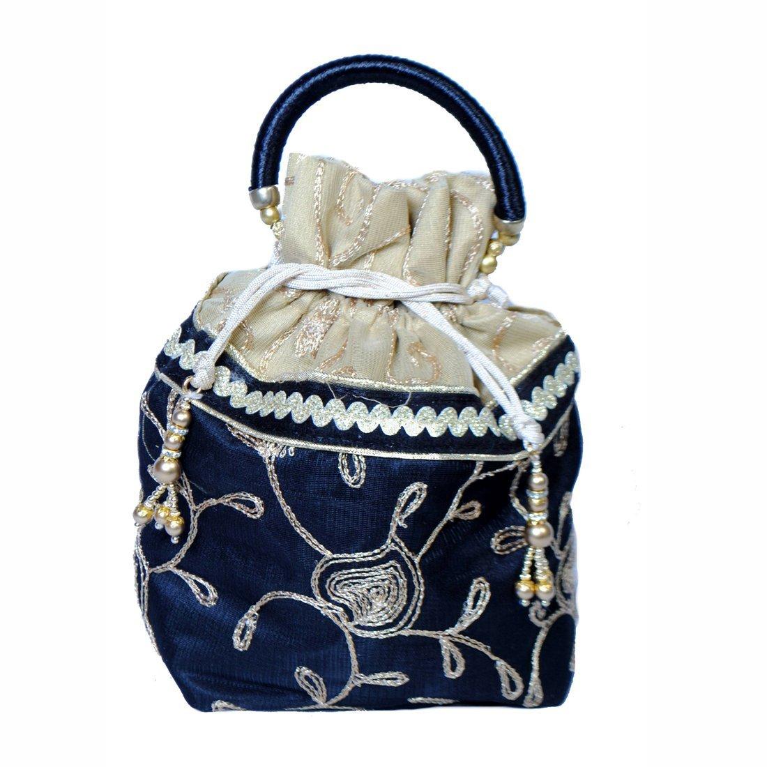 Maitri Creations Women Traditional Silk Brocade Purse Potli Bag Drawstring Jewelry Pouch Bag Cotton Gift Bag Value Set Wristlet Beaded Handbag Wedding Evening Party Designer Bridal Clutch Purple