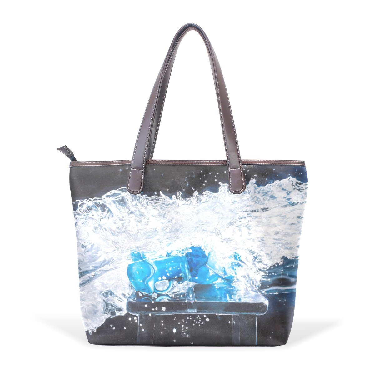 Ye Store Water Waves Lady PU Leather Handbag Tote Bag Shoulder Bag Shopping Bag
