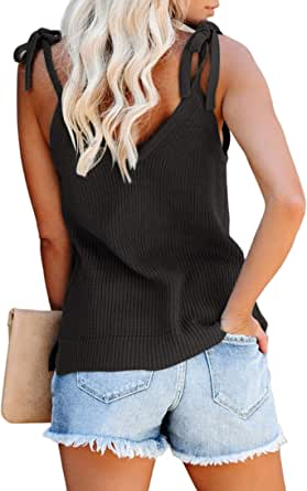 Women's V Neck Tank Tops Casual Sleeveless Tunic Shirts Basic Ribbed Tie Shoulder Strappy Knit Cami Side Split Sweater Vest