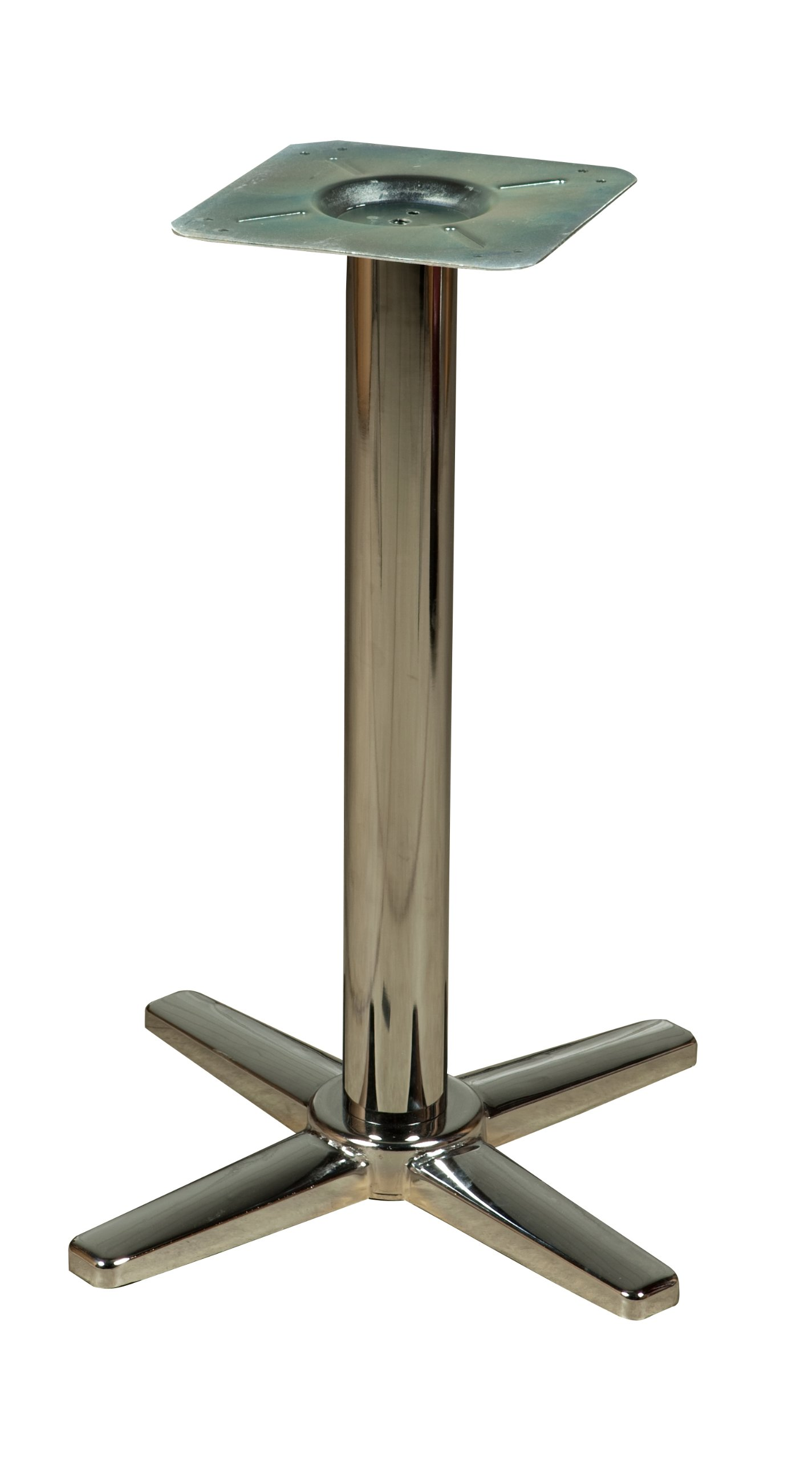Oak Street Manufacturing B22CHR-STD Chrome Cross Base with 3'' Standard Height Tube and Spider, 22'' Width x 30'' Height x 22'' Depth