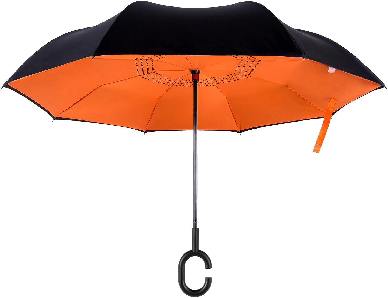 Double Layer Inside Out Folding Umbrella Upside Down Umbrellas C-Shaped Handle Women Men EEZ-Y Reverse Inverted Windproof Umbrella