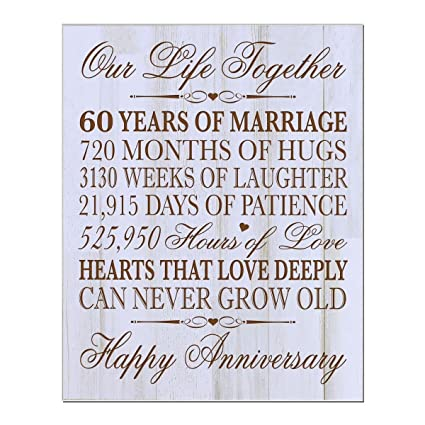 Amazon Com 60th Wedding Anniversary Wall Plaque Gifts For Couple