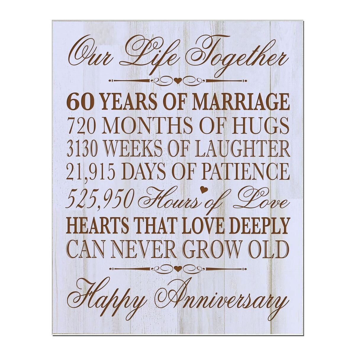 LifeSong Milestones 60th Wedding Anniversary Wall Plaque Gifts for Couple, 60th for Her,60th Wedding for Him 12'' W X 15'' H Wall Plaque (Distressed Wood)