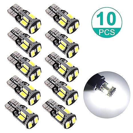 10 Pcs Bright 5730 8 SMD  White  194 168 T10 Car Bulbs Wedge Side Lamp LED Light