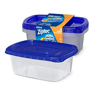 Ziploc Containers for Food Storage and Meal Prep with Smart Snap Technology, For Travel and Organization, Dishwasher Safe, Large Rectangle, 2 Count