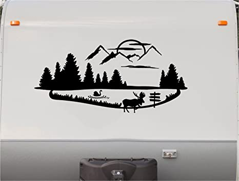 Moose swan mountains motorhome stripe kit cabin rv stickers trailer stickers camper vinyl