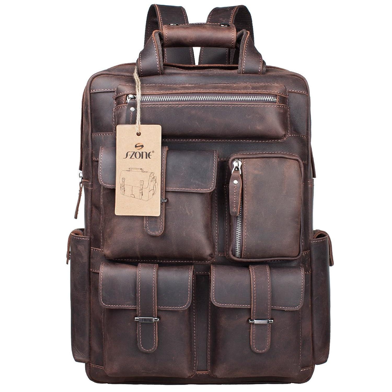 S-ZONE Vintage Crazy Horse Genuine Leather Backpack Multi Pockets ...