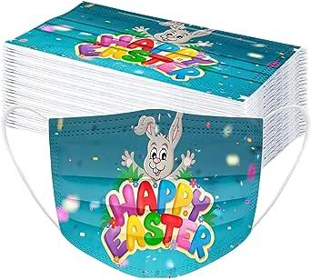 TEGT Mondkapjes voor Pasen, uniseks, adembescherming, neusbescherming, zijde, ademend, antibacterieel, zonwering, koude- en stofdicht, hoge filtratie, 50 stuks