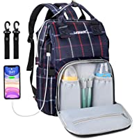 Diaper Bag Backpack,Multifunction Travel Maternity Baby Nappy Changing Bags with USB Charging Port (Red Plaid)