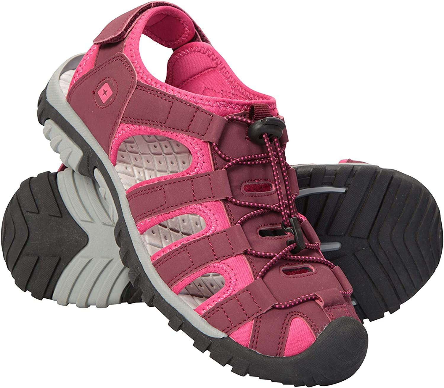 LADIES SIZE 3 4 5 6 7 8 PINK GREY ELASTIC TOUCH FASTENING SPORTS WALKING SANDALS