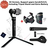 Feiyu G5 (Upgraded Version) 3-Axis Handheld Gimbal Action Camera Stabilizer for GoPro Hero 6/5/4/3,Yi Cam 4K,SJCam, AEE and Action Cameras of Similar Size Including tripod stand and extra battery