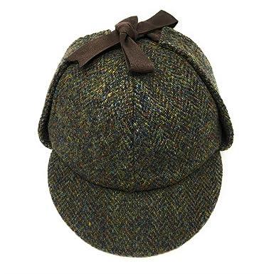 ce89667f696 Failsworth Genuine Harris Tweed Sherlock Deerstalker Hat Green Pattern 2016  Gamekeeper Country Hat (Medium -