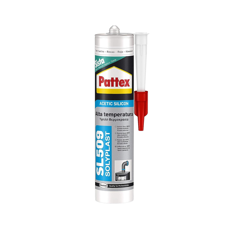 Pattex SL 509, silicona ácida para altas temperaturas, color rojo óxido 300ml