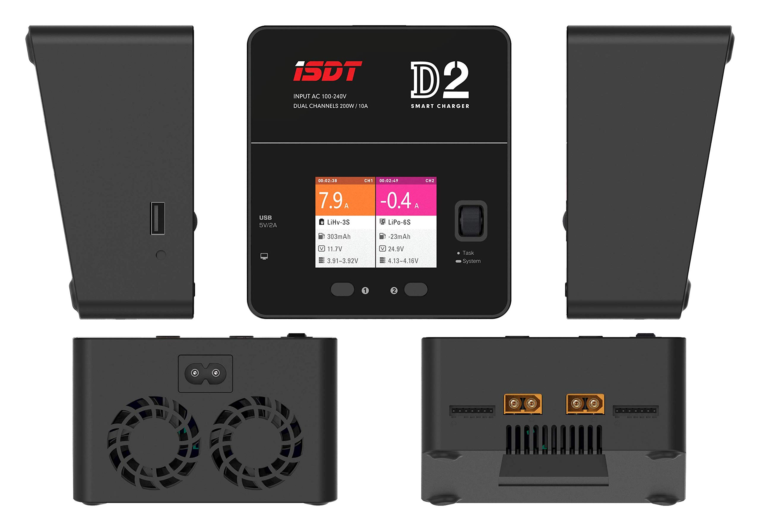 ISDT D2 LiPo Battery Balance Charger Duo Discharger Dual 200W 12A2 AC Dual Channel Output 1-6S Li-ion Life NiCd NiMH LiHV PB Smart Batterry by ISDT (Image #8)