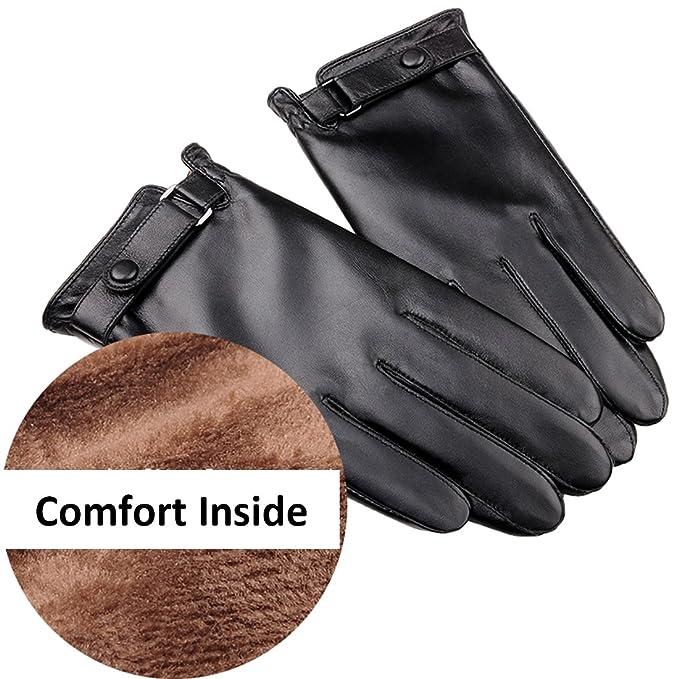 QGhappy Men Winter Warm Touchscreen piel de cordero Conducción guantes de cuero (forro de cachemira) - Negro X1nhuP