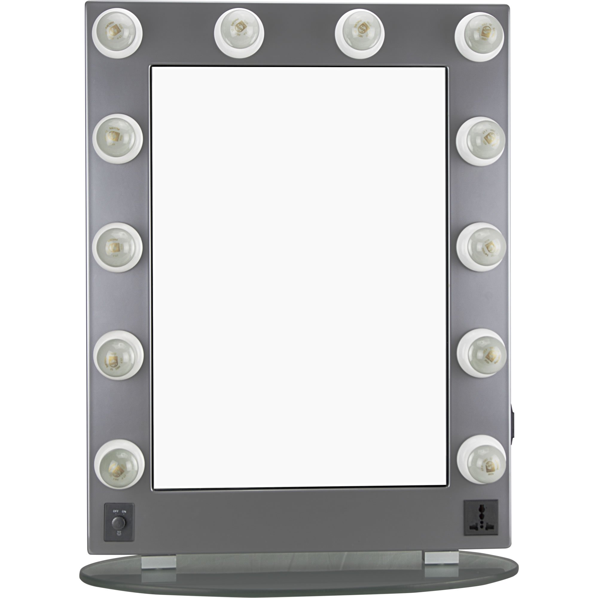 Hiker 12 Dimmer Light Piece Body and Glass Base Hollywood Vanity Makeup Wall Mount Mirror Table Top, Silver