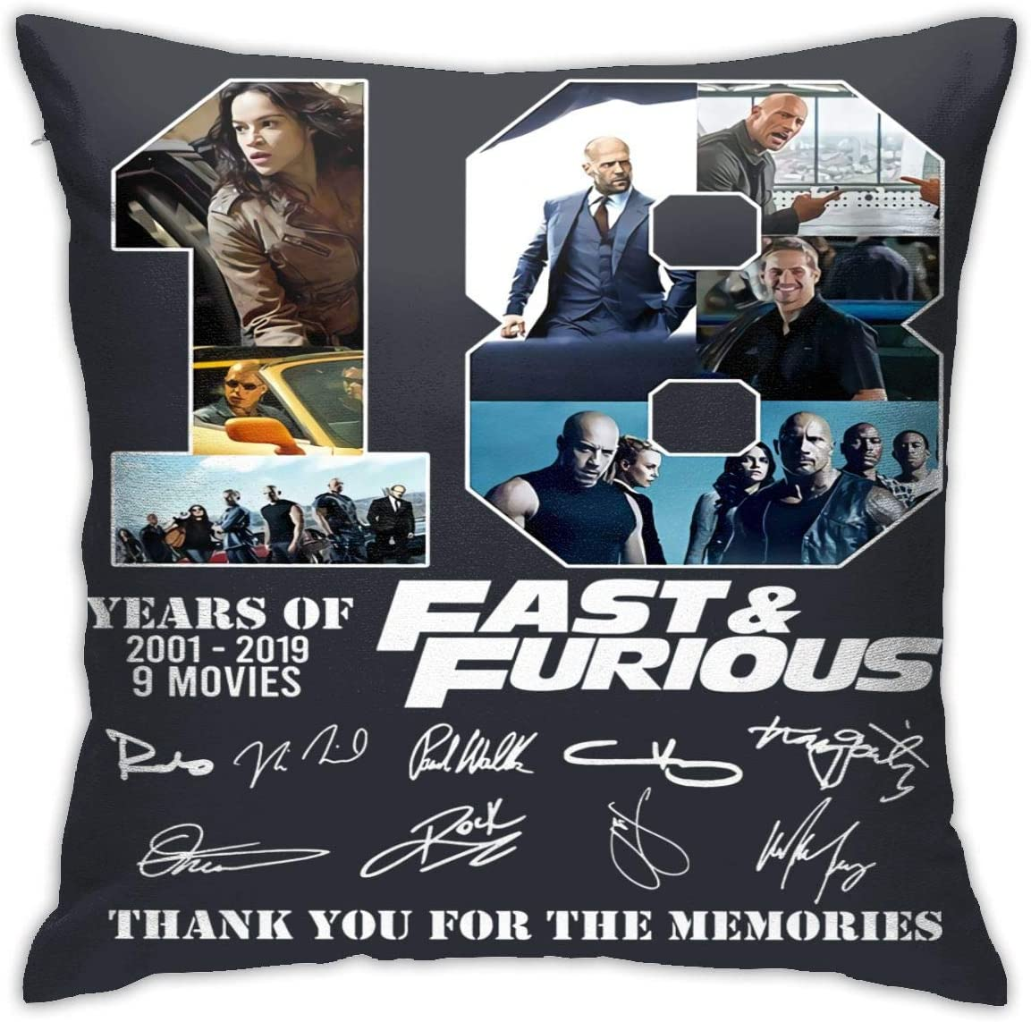 HUABDWA Years of Fast & Furious Pillowcase Throw Pillow Covers 18 X 18 Inch/45 X 45 cm Double-Sided Printing