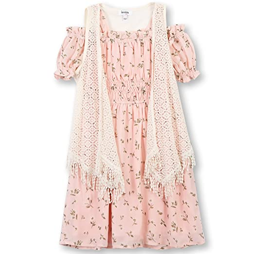 1b413e455db Amazon.com  Speechless Girls  Big Shoulder Dress with Vest  Clothing