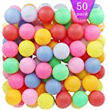 TADICK Assorted Color Beer Ping Pong Balls Washable Plastic Table Tennis Ball (50 Pack)