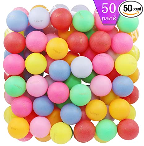 Tadick Beer Ping Pong Balls Assorted Color Plastic Ball 50 Pack