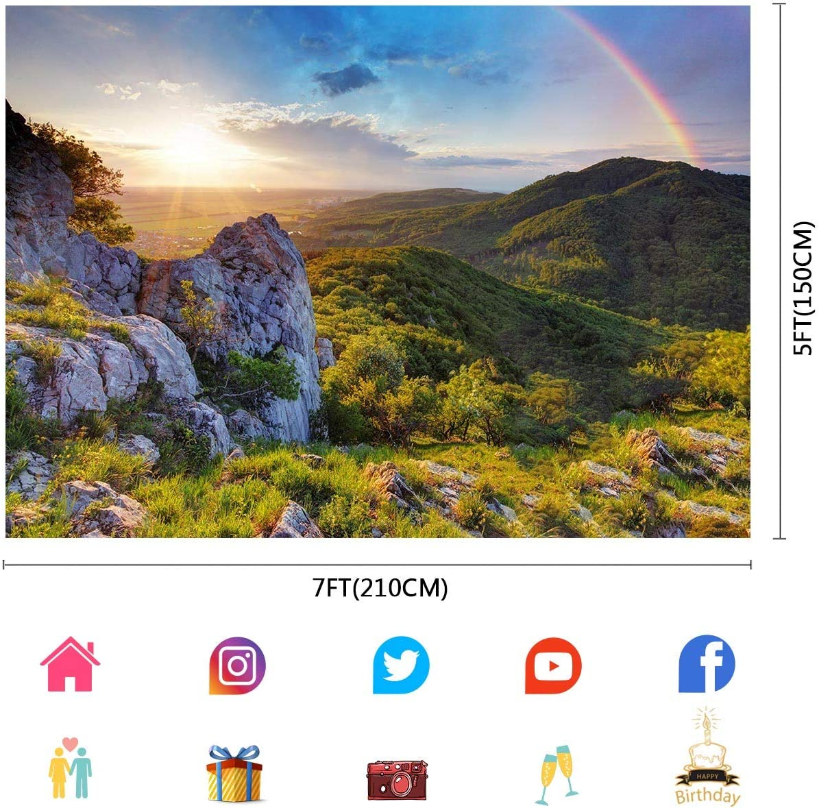 FUERMOR Nature Scenery Mountains Sunshine Rainbow Photography Backdrops 7x5ft Room Murals Backdrop Props Photo Background LYFU669