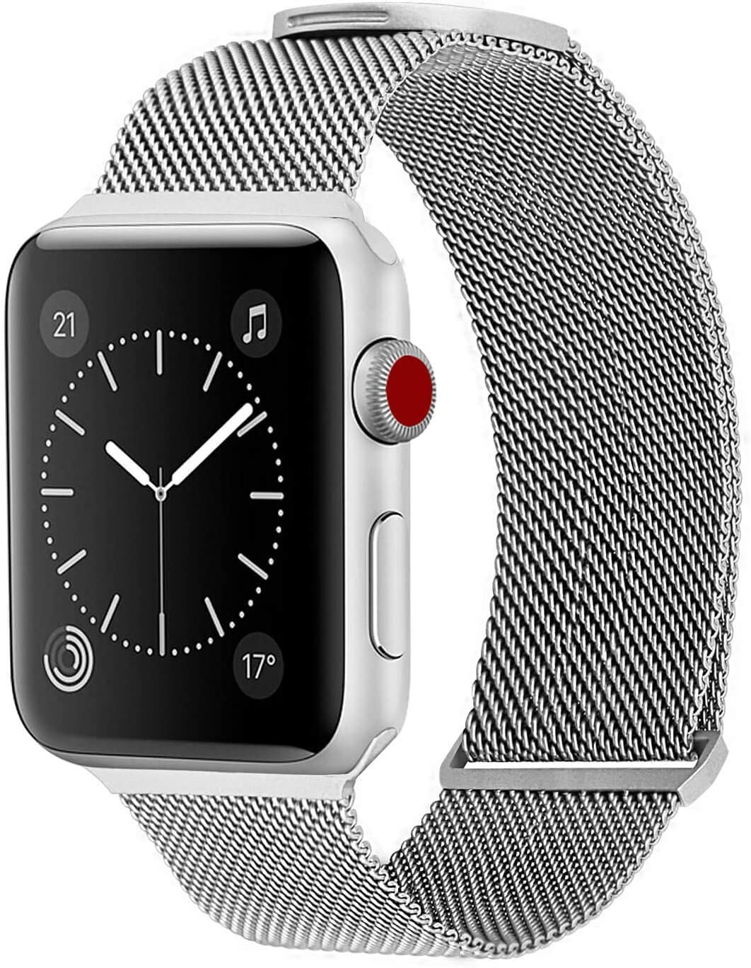WareWel - Stainless Steel Apple Watch Compatible Bands for Men & Women (Milanese Mesh Silver, 38/40) | Quick Install Replacement Apple Watch Bracelet Bands | Premium Finish & Sturdy Closure