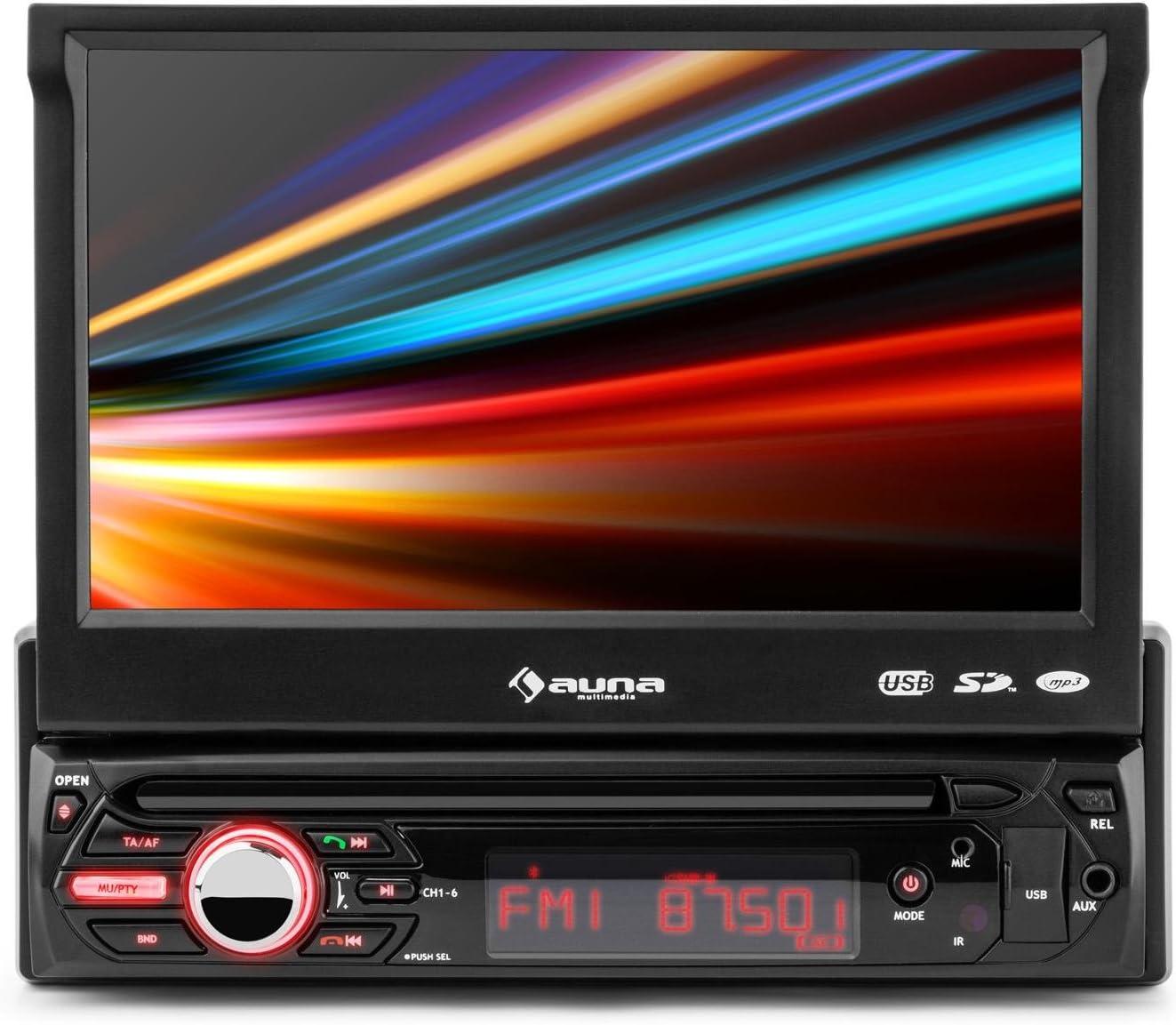 auna MVD-310 - Autorradio, Radio de Coche, Pantalla táctil 17,8 cm, Bluetooth, Entradas USB y SD, Entrada AV, Radio FM con RDS, MP3, MP4, MPEG4, WMA, Luces LED, Mando, Extraíble, Negro