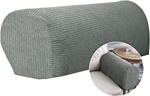 CAVEEN Armrest Cover Stretch Fabric Armrest Covers Anti-Slip Furniture Protector Armchair Slipcovers for Recliner Sofa Spandex Couch Armrest Protector Set of 2 Light Grey Stripe Pattern