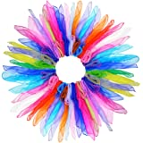 28pcs Dance Scarves, Square Juggling Silk Dance Scarves Play Scarves Movement Scarves Magic Tricks Performance Props Accessor