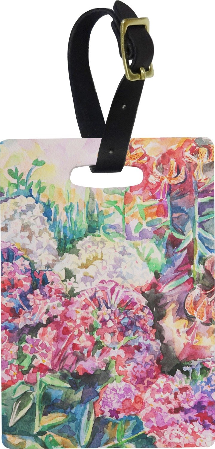 Watercolor Floral Rectangular Luggage Tag