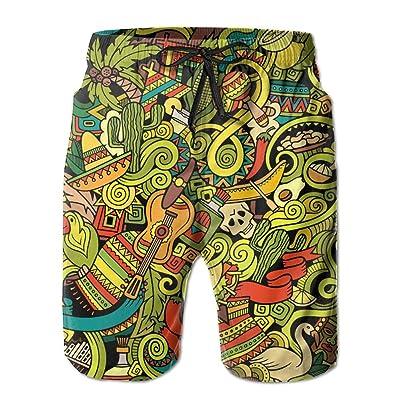 Usieis Cartoon Hand Drawn Doodles On The Subject of Latin Surfing Pocket Elastic Waist Men's Beach Pants Shorts Beach Shorts Swim Trunks
