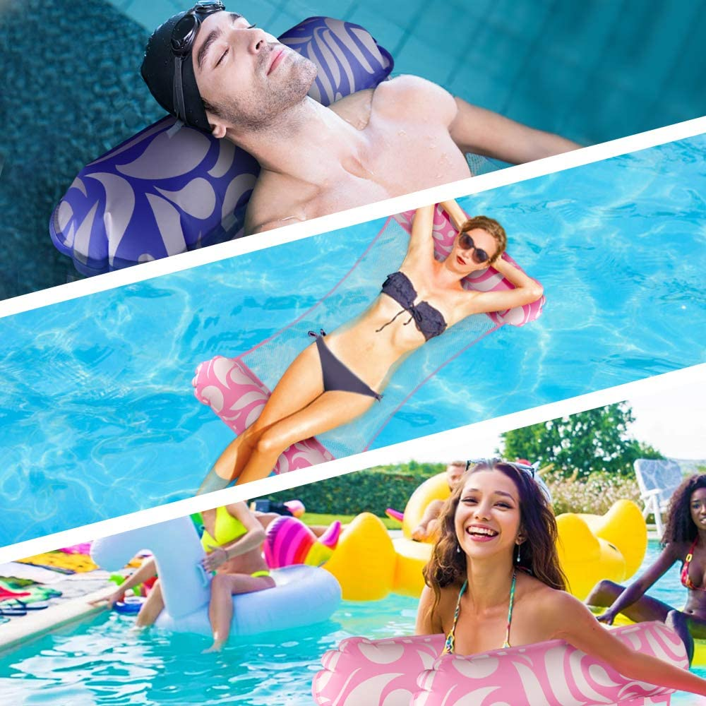 2Pack Multi-Purpose Swimming Pool Float Hammock Portable Pool Lounger Chair Outdoor Toys Growsland Inflatable Pool Float Water Hammock