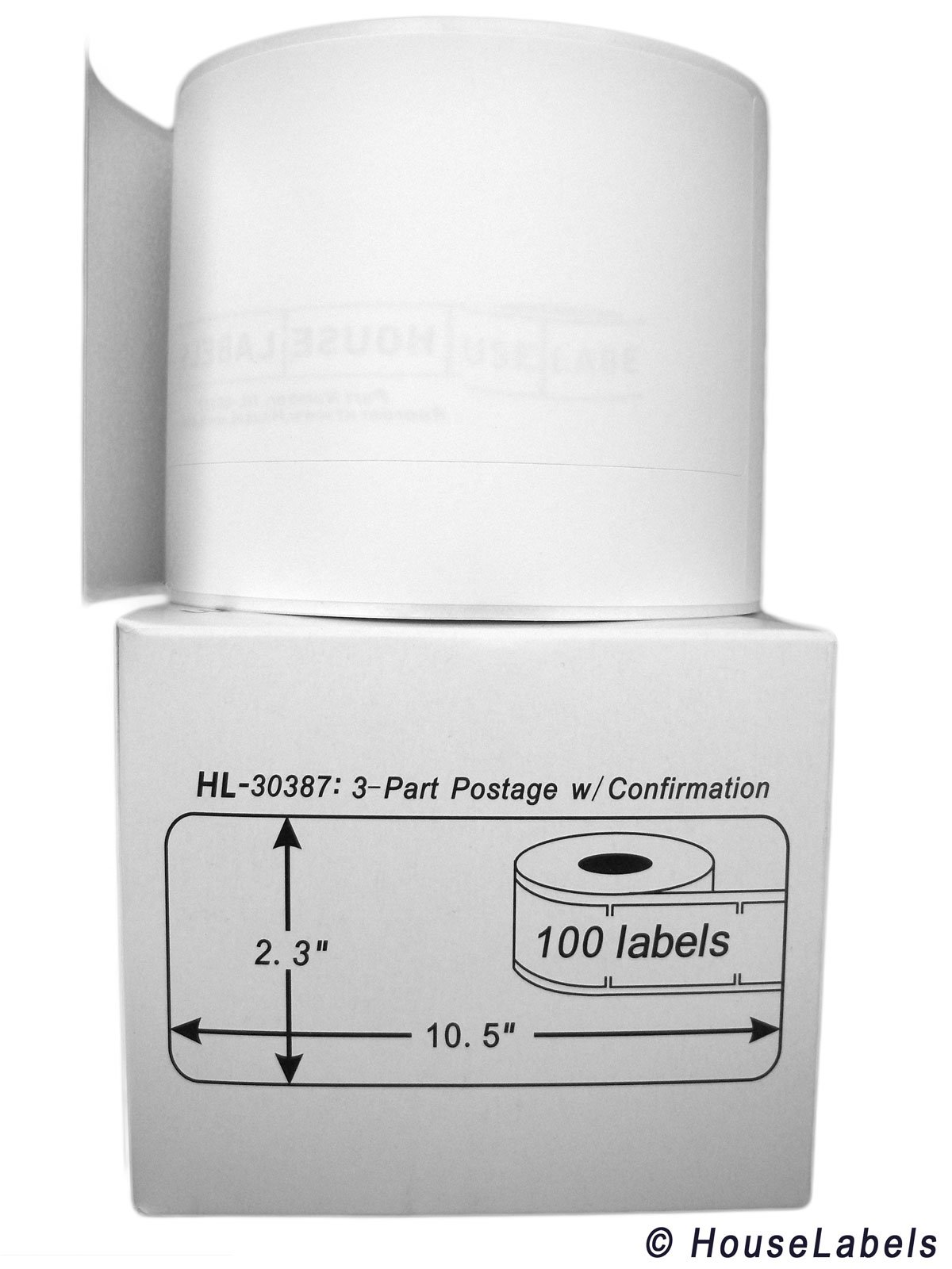 25 Rolls; 100 Labels per Roll of DYMO-Compatible 30387 3-Part Internet Postage Labels (2-5/16'' x 10-1/2'') - BPA Free! by HouseLabels