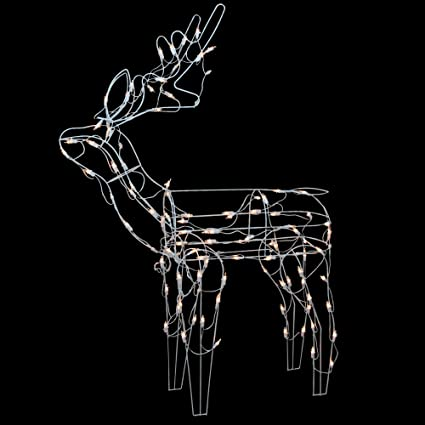 Amazon Com Northlight 43 Lighted White Standing Reindeer